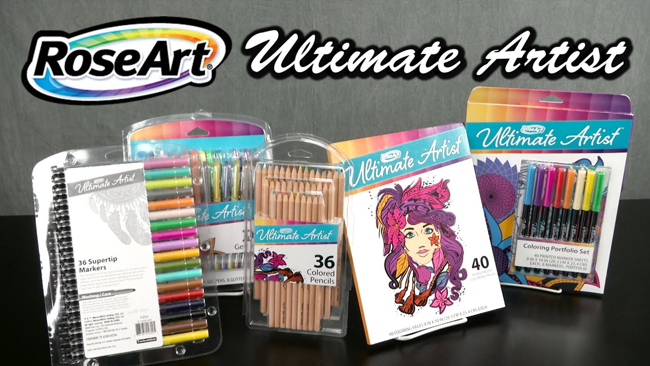 Art color markers - Ultimate Artists Gel Pen Coloring Portfolio Set Coloring Pages Markers Pencils From Roseart