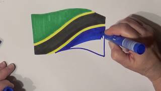 Learn geography for kids How to draw a flag Tanzania