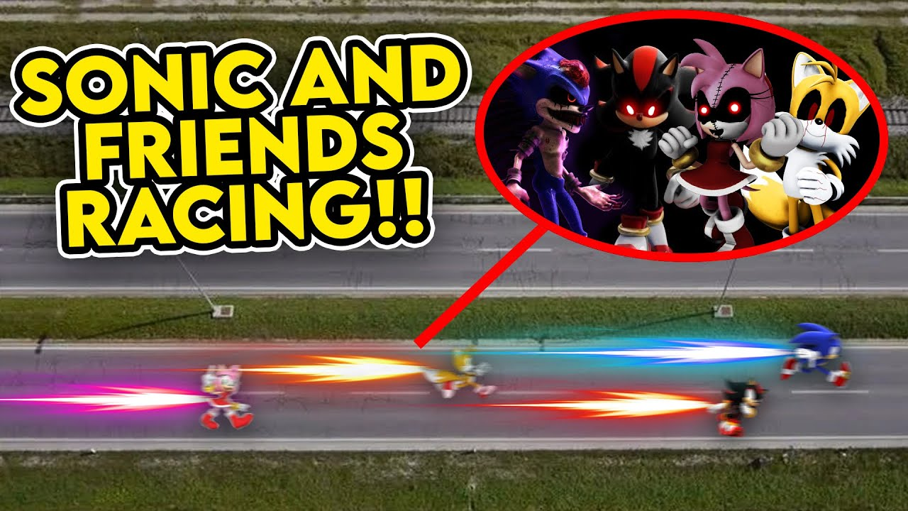 DRONE CATCHES SONIC THE HEDGEHOG AND FRIENDS RACING!! (SONIC VS AMY ROSE VS TAILS VS SHADOW)