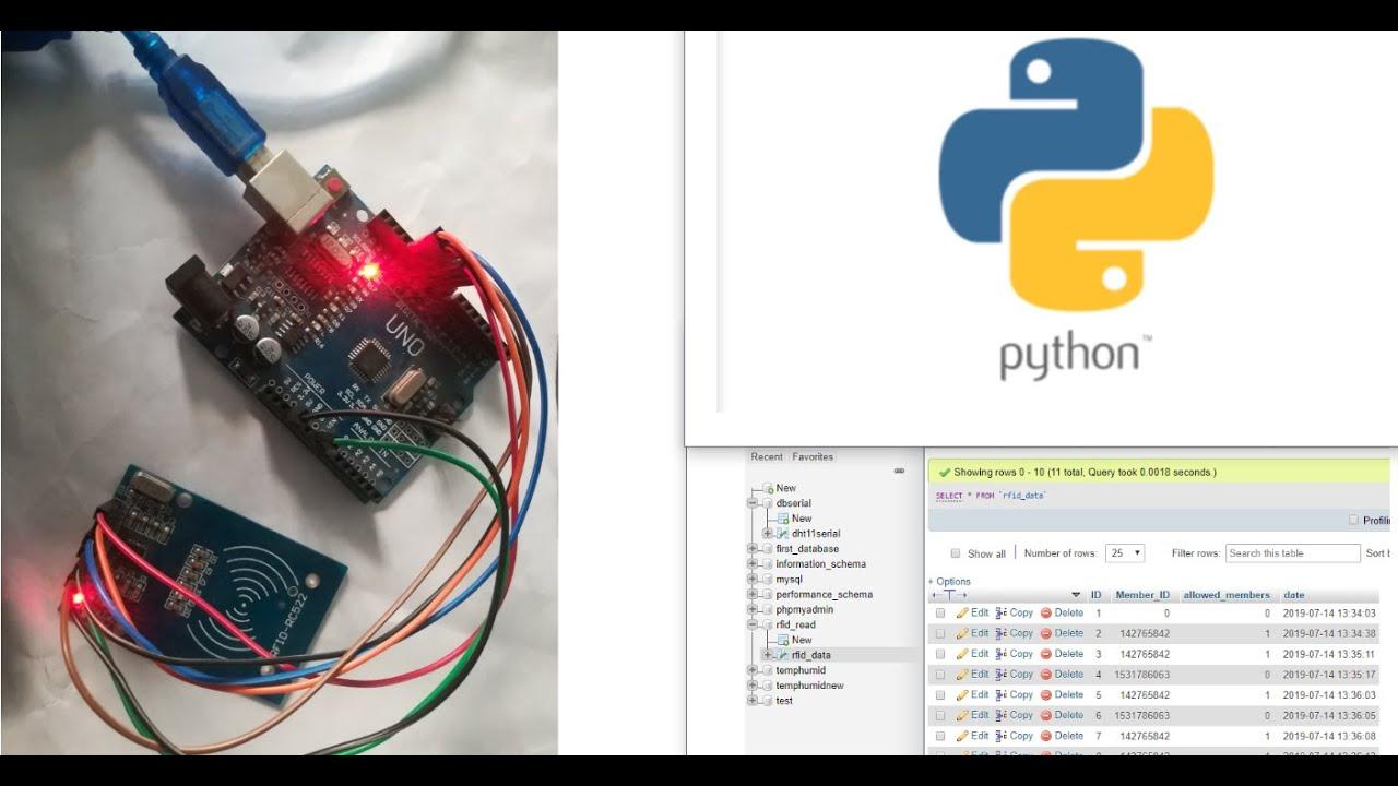 Sending RFID data to MySQL server using python with arduino