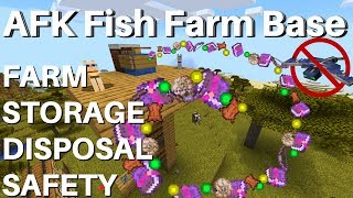How To Make an AFK Fish Farm in Minecraft 1.14.4: AFK Fishing Base | Storage Disposal Phantom Proof