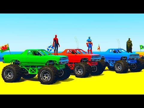 Thumbnail: COLOR OFFROAD TRUCK & FUN MONSTER TRUCK - Superheroes Cars Cartoon and Colors for Kids