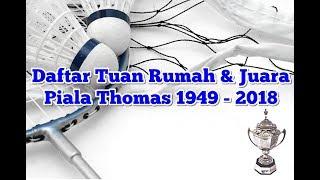 Daftar Tuan Rumah & Juara Piala Thomas 1949 - 2018