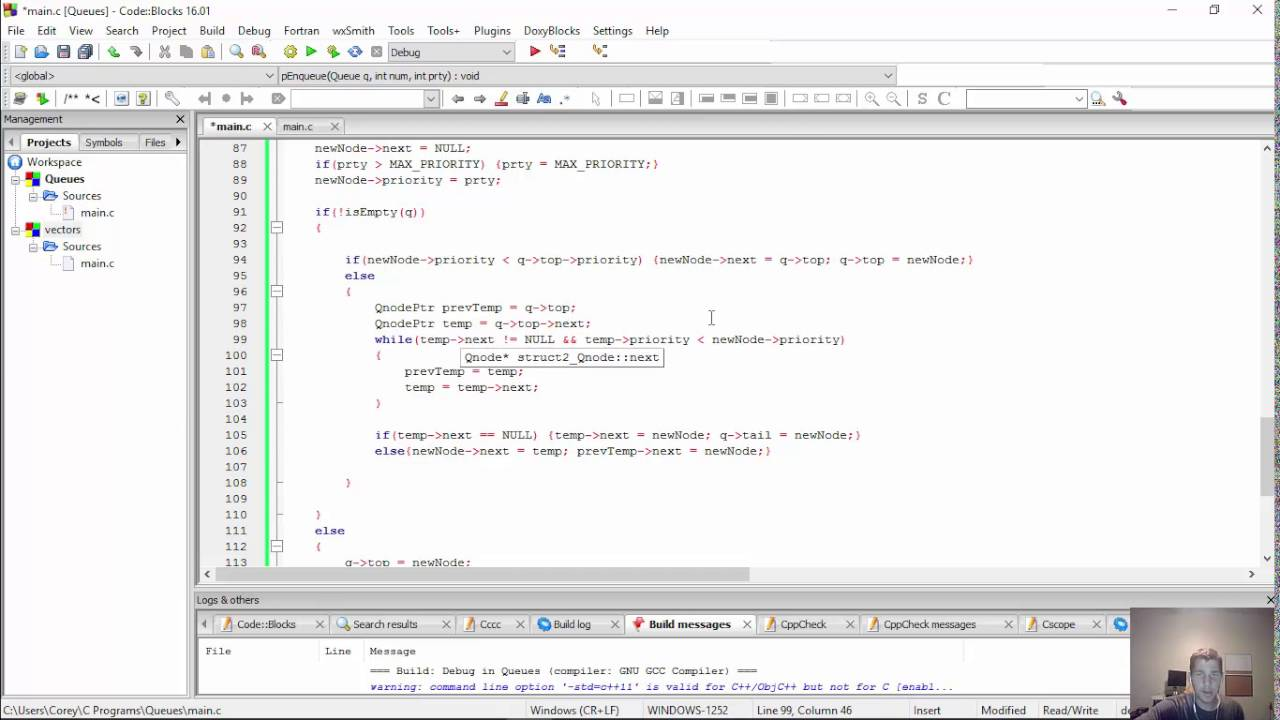 priority queue in c using linked list