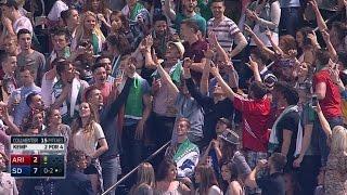 ARI@SD: Irish fans take in their first baseball game