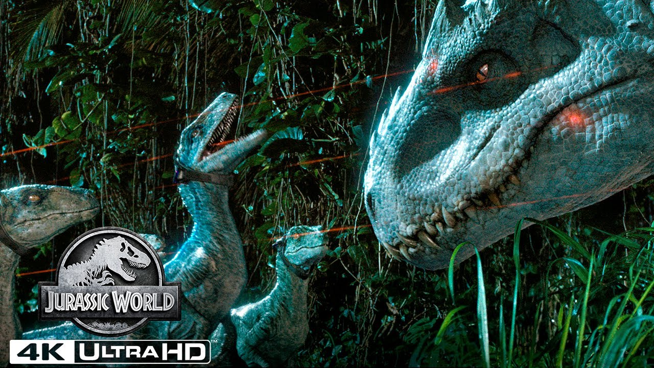 Tracking Indominus Rex With a Pack of Velociraptors in 4K HDR | Jurassic World