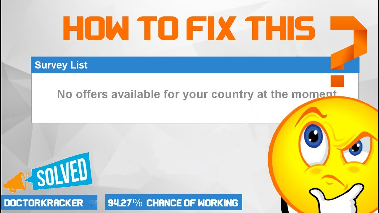 How To Fix No offers available for your country at the moment Problem  (Survey)