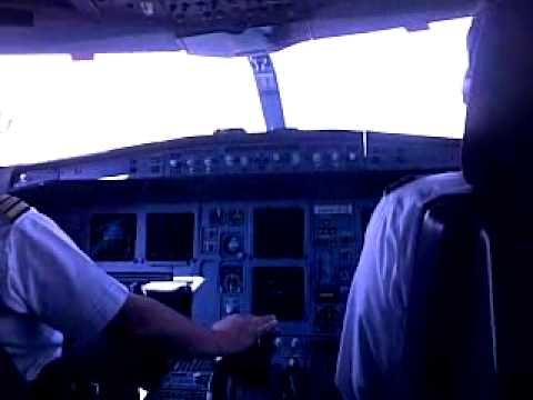 RJ Airbus 340 take off out of Amman, cockpit view