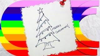 how to draw a cartoon christmas tree Thumbnail