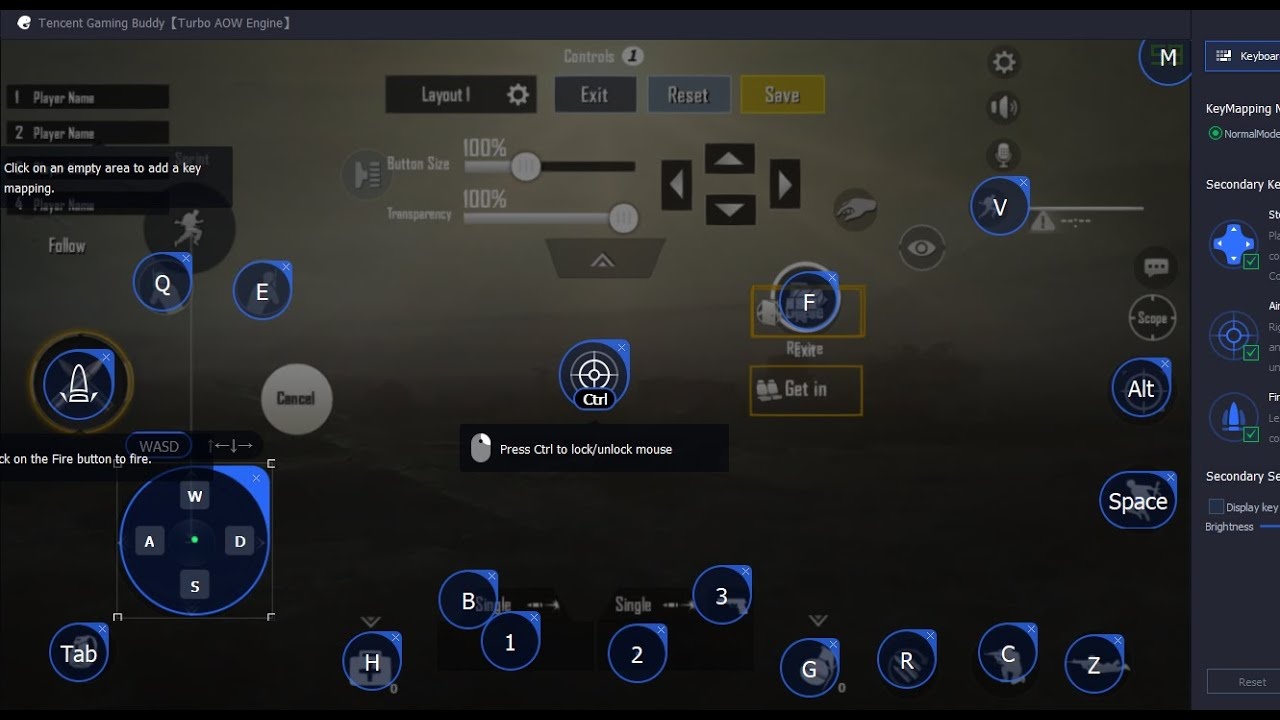 KeyMapping for PUBG Mobile Beta in Tencent Gaming Buddy