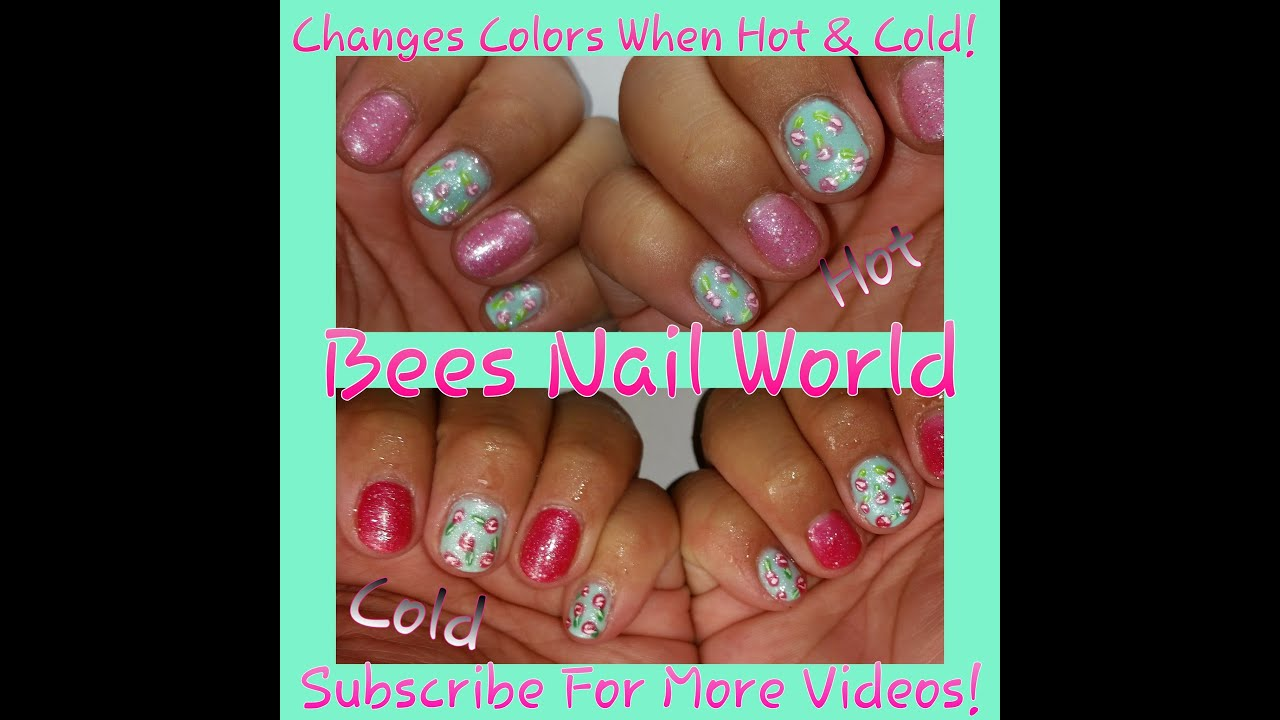 Color Changing Roses- Gel Polish On Natural Nails - YouTube
