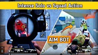 Intense Solo vs Squad action fight in Pubg mobile | Aim bot Pubg mobile | Pubg mobile Hindi Gameplay