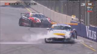 Porsche Carrera Cup Australia 2017. Race 2 Adelaide Street Circuit. Crash
