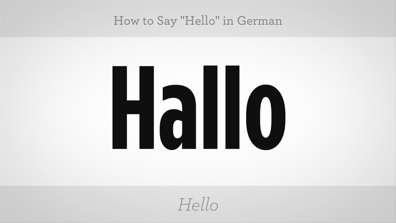 How To Say Hello In German German Lessons Youtube