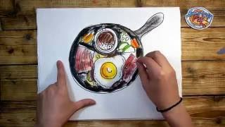 How to draw an English Breakfast / American Pie