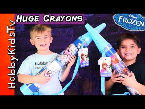 Frozen GIANT Crayon Surprise Eggs! SpongeBob + Frozen Chocolate Eggs, Art Toys HobbyKidsTV