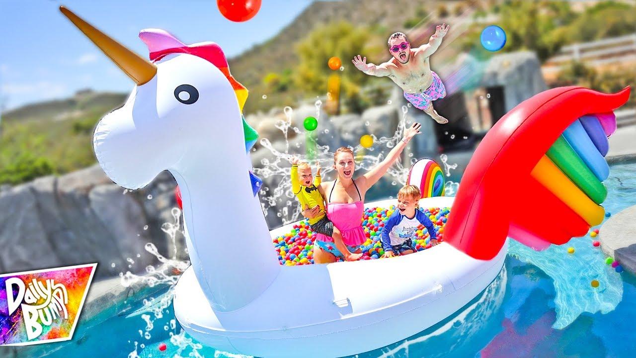 Giant Rainbow Unicorn Floating Ball Pit Swimming Pool