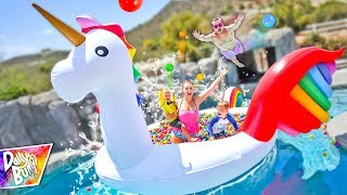 Giant Rainbow Unicorn FLOATING BALL PIT Swimming Pool Party! 🦄 💦