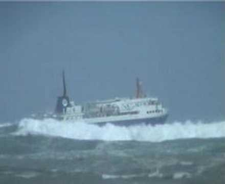 Ship departing Wellington into big swell