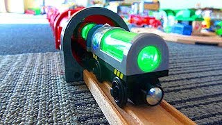 Subway long tunnel & green glow train, wooden Thomas & Tayo Brio trains