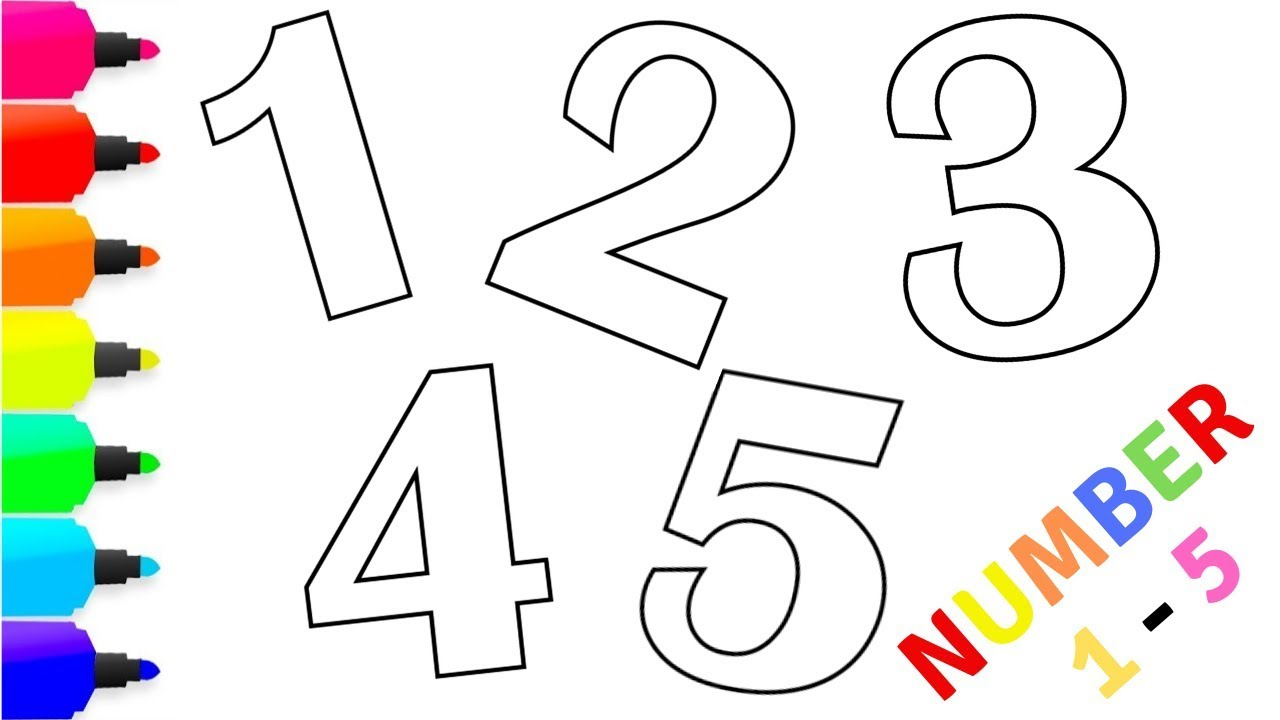 Number Coloring For Kids Learn Colors Learn Numbers 1 5 Part 1 Drawings Coloring Coloringpages Co Coloring For Kids Learning Colors Cute Art Styles