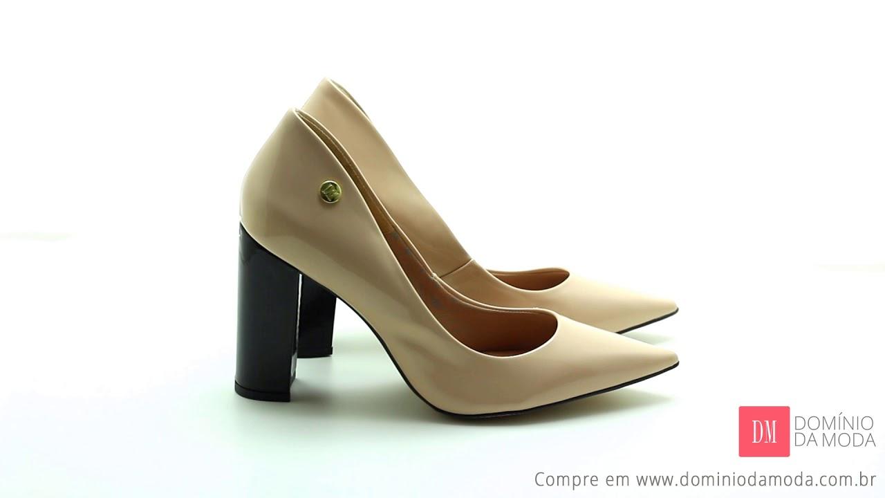 965c85bf2f Sapato Grande  Scarpin Numeração Especial DM Extra Verniz Nude Salto Preto  DME1812504 Domínio da Moda - Calçados numeração grande