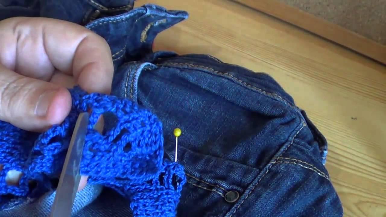 Pantal n tejano con cenefa de crochet youtube - Colgador de tela con bolsillos ...