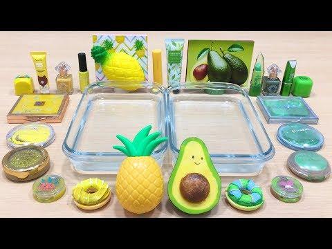 Pineapple vs Avocado ! Slime | Mixing Makeup Eyeshadow into Clear Slime ! Satisfying Videos #549