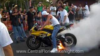 Burnout and lights bike on fire - June 2010 - Daytona Beach Bike Night