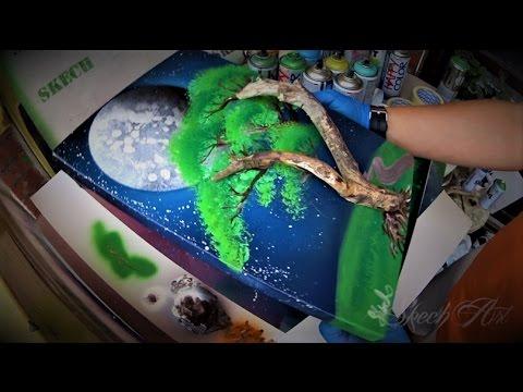 3D Spray paint ART – Tree in the night – By Skech