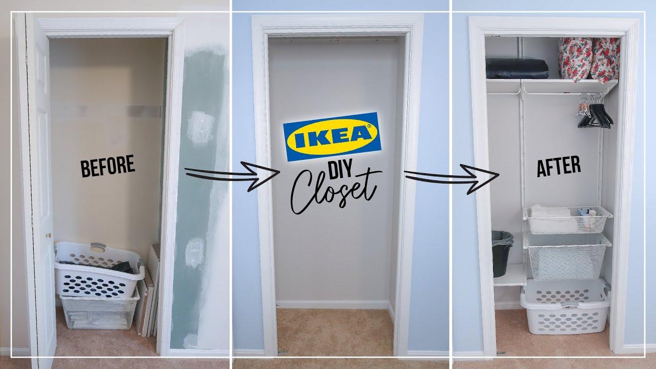 Small Bedroom Closet Diy Makeover Ikea Algot Installation Guest Organization Youtube