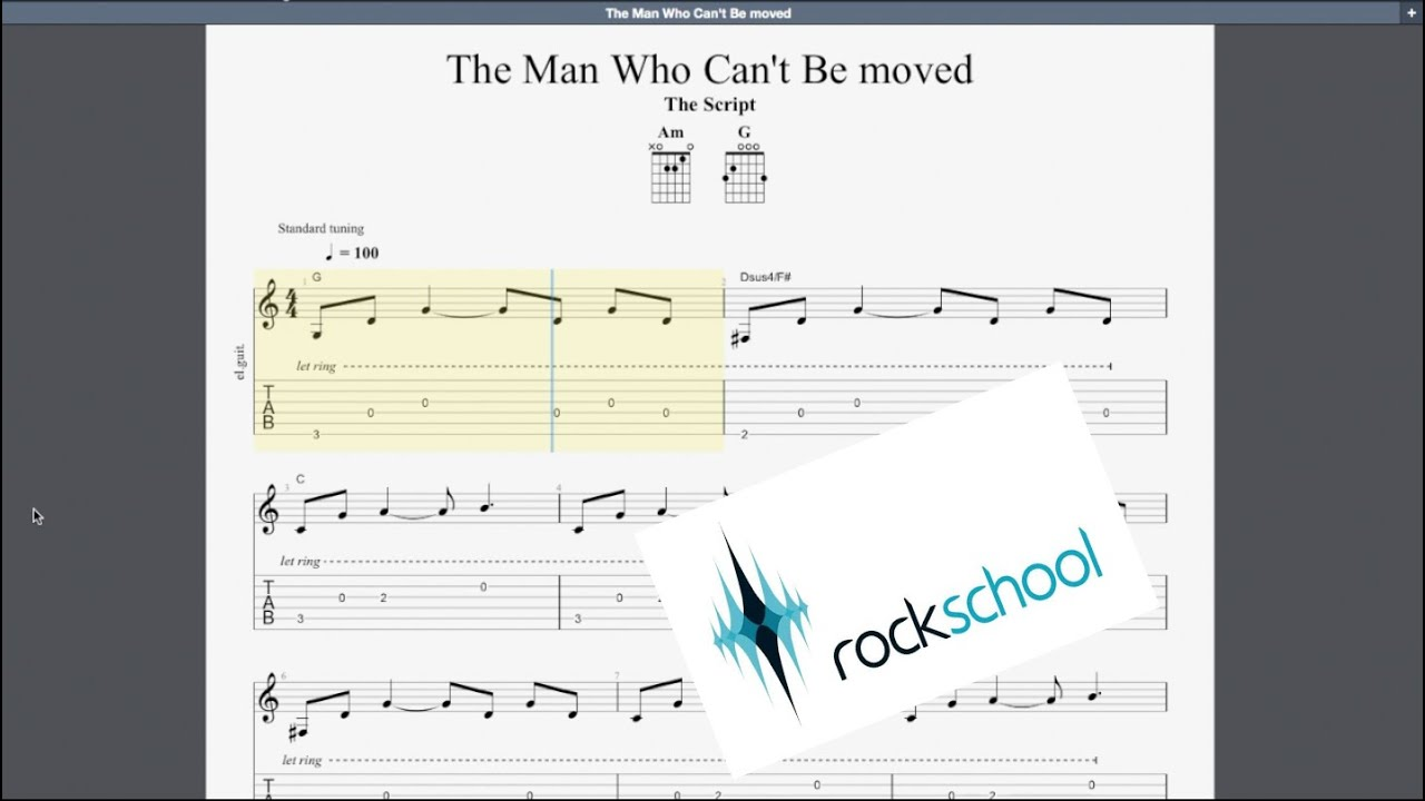 The Man Who Can't Be Moved Rockschool Grade 15 Guitar Play Along