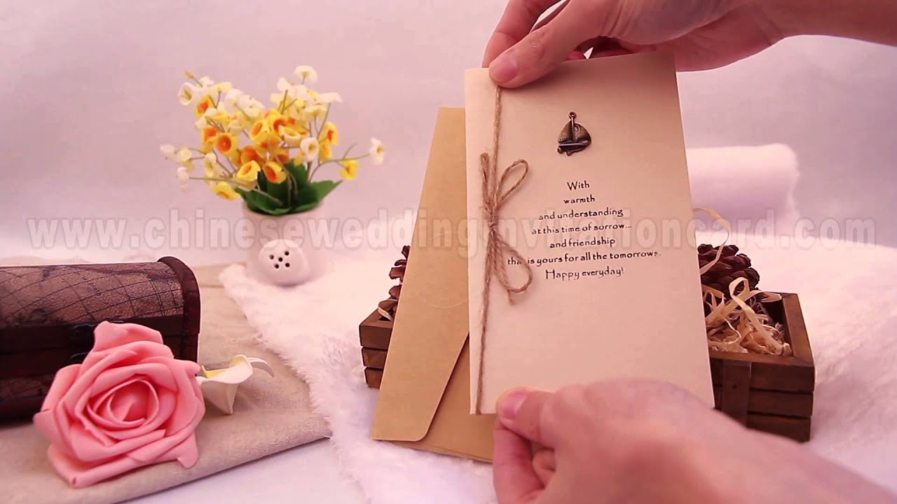Brief design boat pattern tied chinese wedding invitation card - YouTube