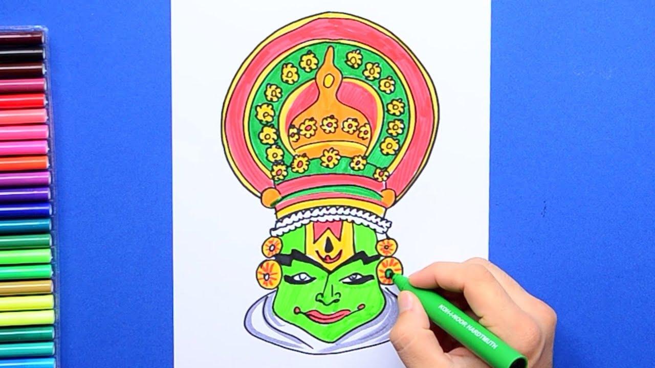 How To Draw Kathakali Face Mask Onam Celebrations Youtube