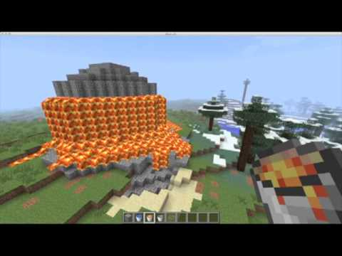 How to build a erupting volcano Minecraft V2