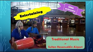 Traditional Music at Sultan Hasanuddin Airport, Makassar, South Sulawesi, Indonesia.