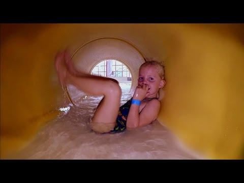 Elizabeth plays in an underwater maze