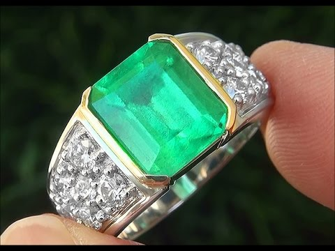 GIA Certified Men's Natural Emerald Diamond PLATINUM & 18k Gold Gents Ring - C798