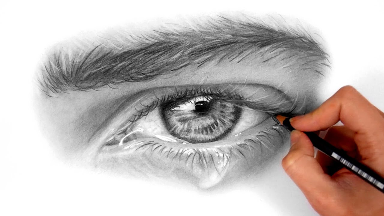 Timelapse | Drawing and shading a realistic eye with ...