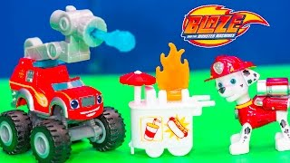 BLAZE AND THE MONSTER MACHINES Nickelodeon Blaze Fire Truck + Paw Patrol  Video Toy Unboxing