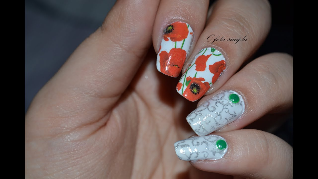 Poppy Water Decals Nail Art - YouTube