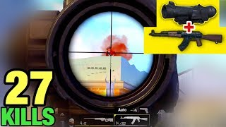 BEST CONTROL AKM + 6x Scope NO RECOIL | HANDCAM 27 KILLS SOLO VS SQUAD | PUBG MOBILE