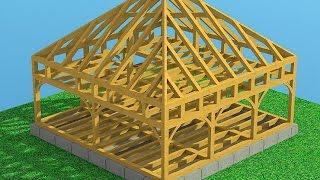 Как построить каркасный дом из бруса(Как построить двухэтажный каркасный дом из бруса с мансардой и четырёхскатной крышей пирамидальной формы..., 2015-05-21T13:42:40.000Z)