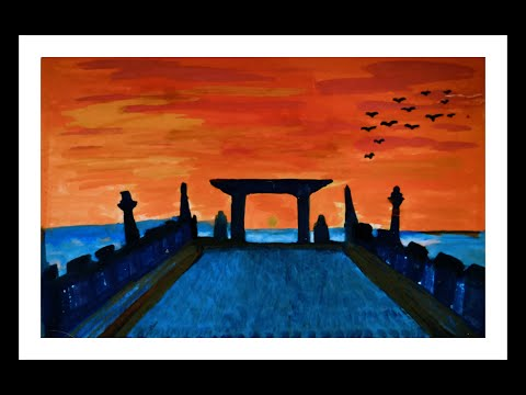 Sunset painting tutorial// Laylay Port landscape painting// step by step tutorial