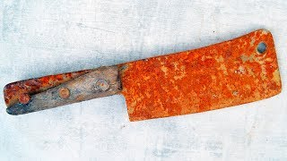 Old Rusty Chef Cleaver Restoration