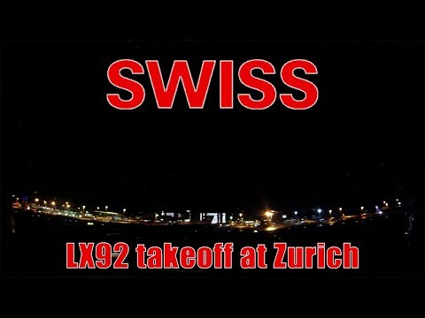 Swiss Airbus 340 onboard takeoff at Zurich Airport | LX92