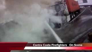 Firefighters battle a big rig fire in Contra Costa County