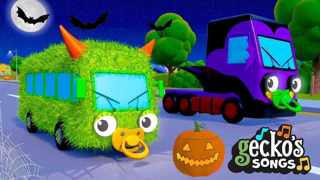 The Halloween Song with Baby Truck | Nursery Rhymes & Kids Halloween Songs | Gecko's Garage
