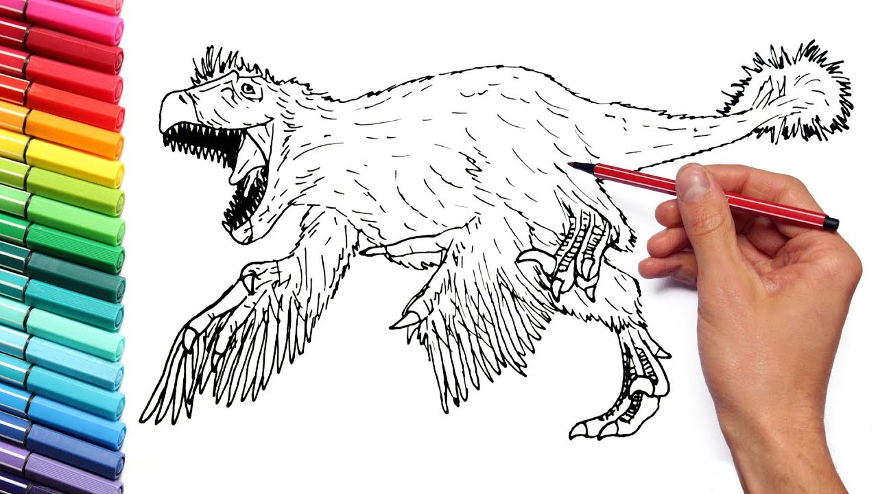 Drawing and Coloring Utahraptor - Coloring Pages for Kids to Learn Color  With Dinosaurs