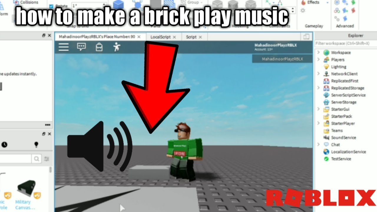 How To Make Sing In Roblox Studio Youtube How To Make A Block Play Music Roblox Studio Tutorial Youtube